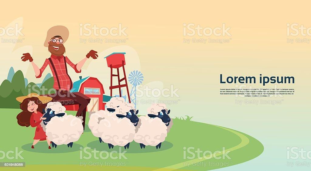 Ferme fermier élevage de moutons de laine - Illustration vectorielle