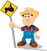 Farmer Cartoon Man Tractor Sign Isolated