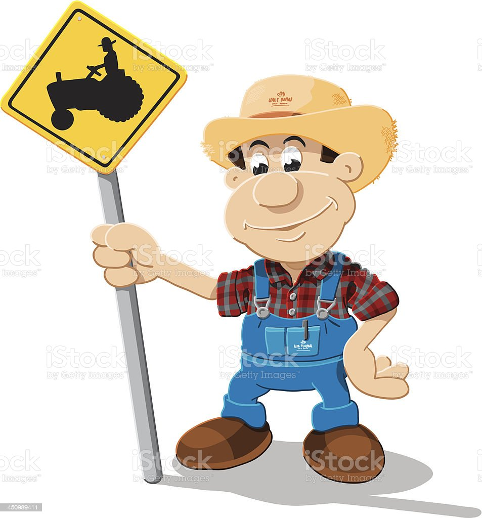 Farmer Cartoon Man Tractor Sign Isolated vector art illustration