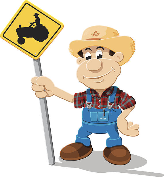 Farmer Cartoon Man Tractor Sign Isolated Vector Illustration of a cartoon farmer, who is holding a yellow road sign with a tractor. The illustration is on a transparent background (.eps-file). The colors in the .eps-file are ready for print (CMYK). Included files: EPS (v8) and Hi-Res JPG. cartoon people sign stock illustrations
