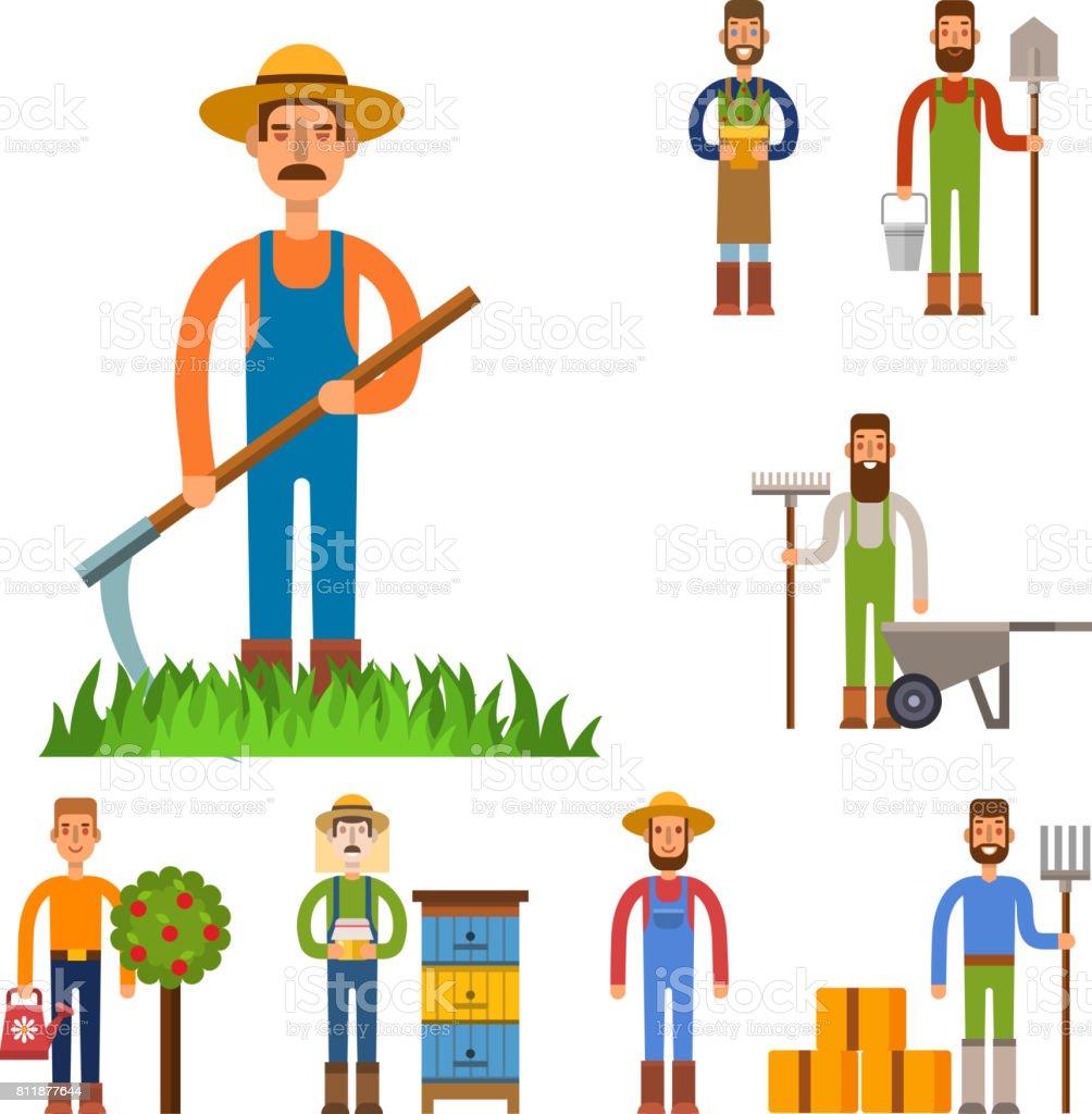 Farmer character man agriculture person profession rural gardener worker people vector illustration vector art illustration