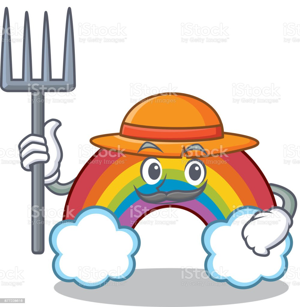 Dibujos de animados carácter colorido arco iris de granjero - ilustración de arte vectorial