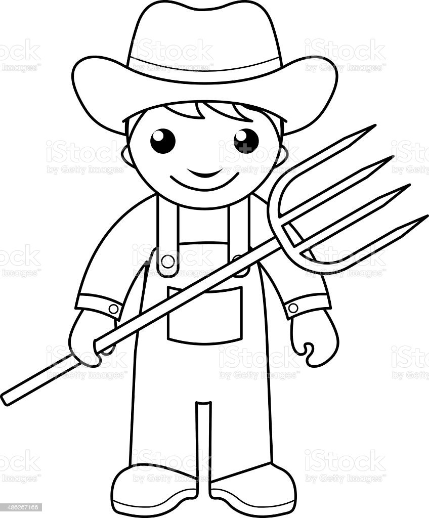 Farmer Coloring Page For Kids Stock Vector Art & More ...