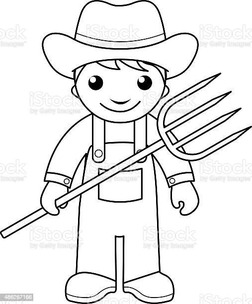 Farmer Coloring Page For Kids Stock Illustration - Download Image Now