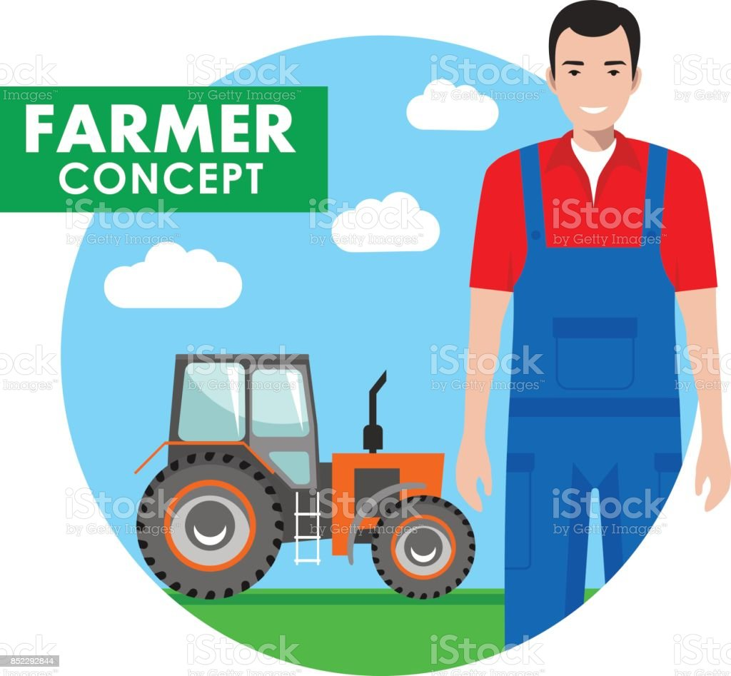 Farmer concept. Detailed illustration of driver, workman in overalls on background with tractor in the field in flat style. Vector illustration. vector art illustration