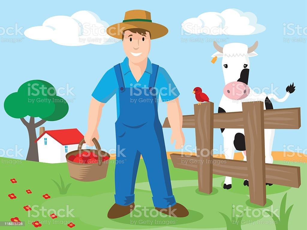farmer cow vector art illustration