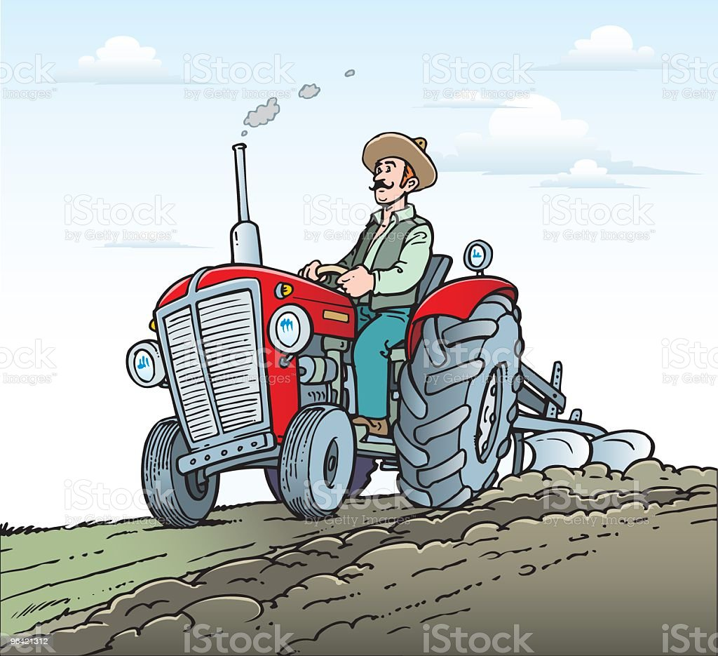 Farmer driving a tractor royalty-free stock vector art