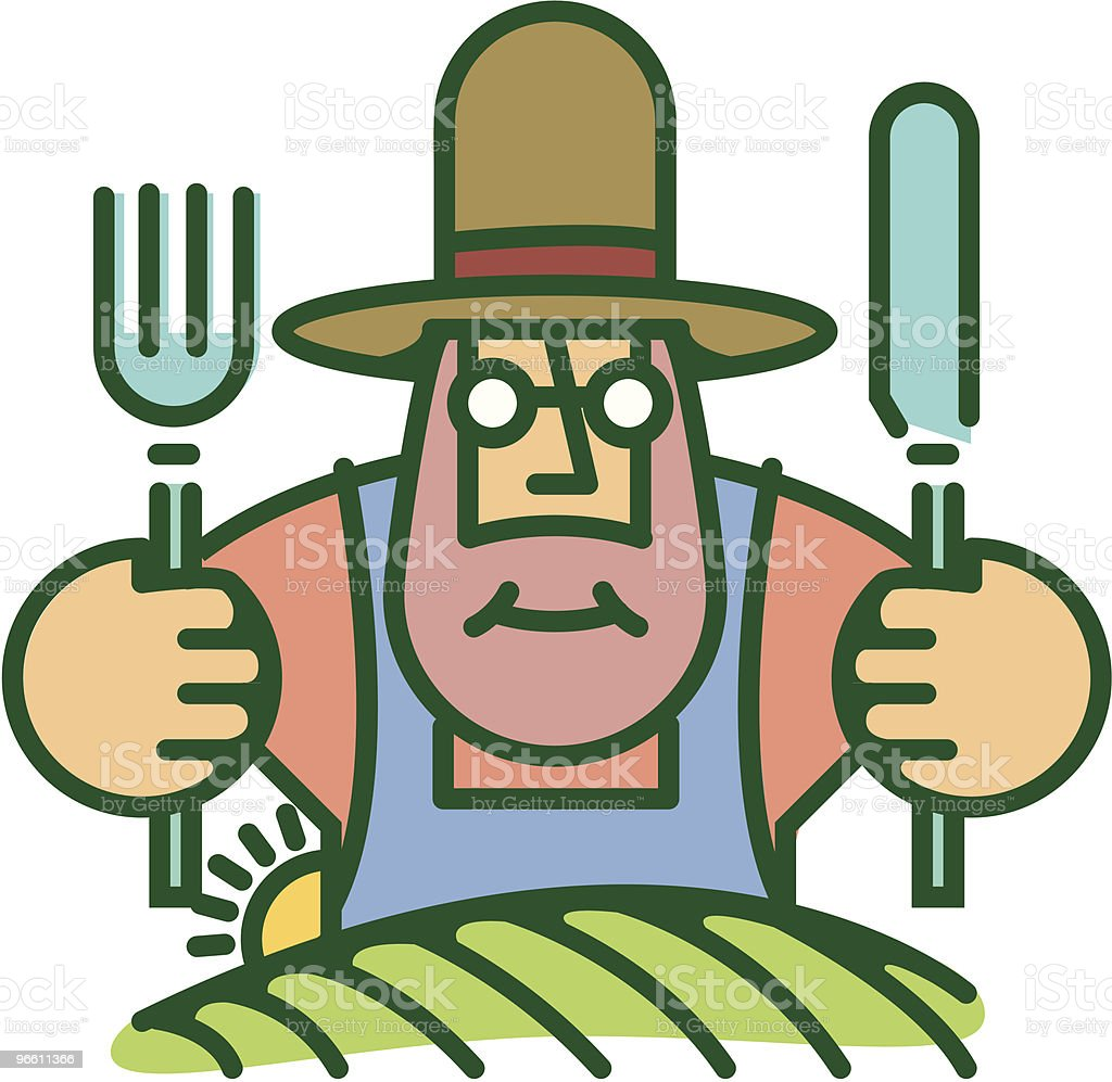Farmer eating from food he grows on land - Royalty-free Adult stock vector