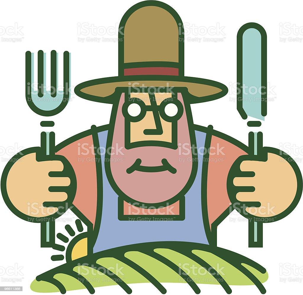 Farmer eating from food he grows on land - Royaltyfri Bonde - Jordbruksyrke vektorgrafik