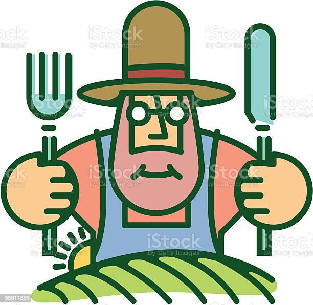 Farmer Eating From Food He Grows On Land-vektorgrafik och fler bilder på Bonde - Jordbruksyrke
