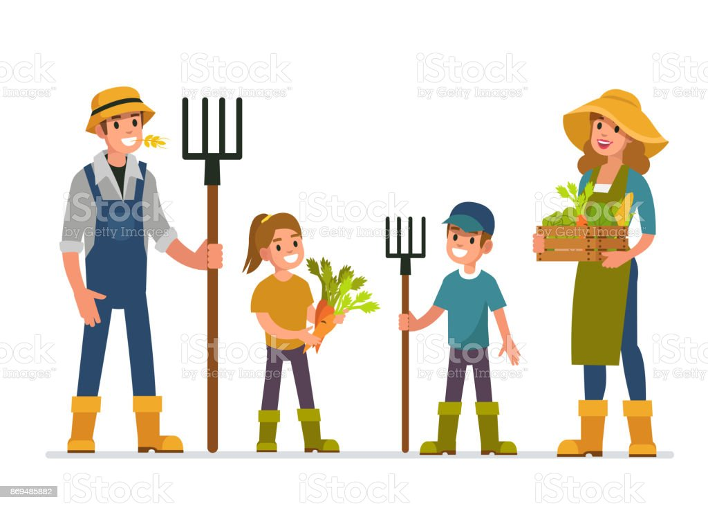 farmer family vector art illustration