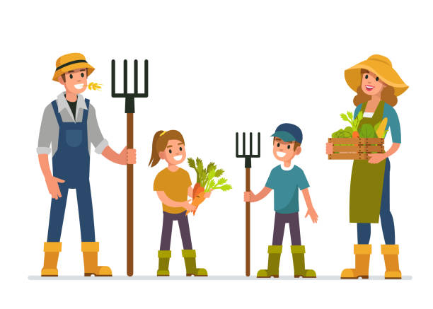 farmer family Farmer and his family working at farm. Flat style vector illustration isolated on white background. farmer stock illustrations