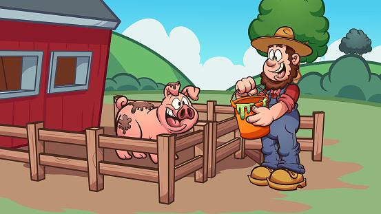 Farmer feeding pig