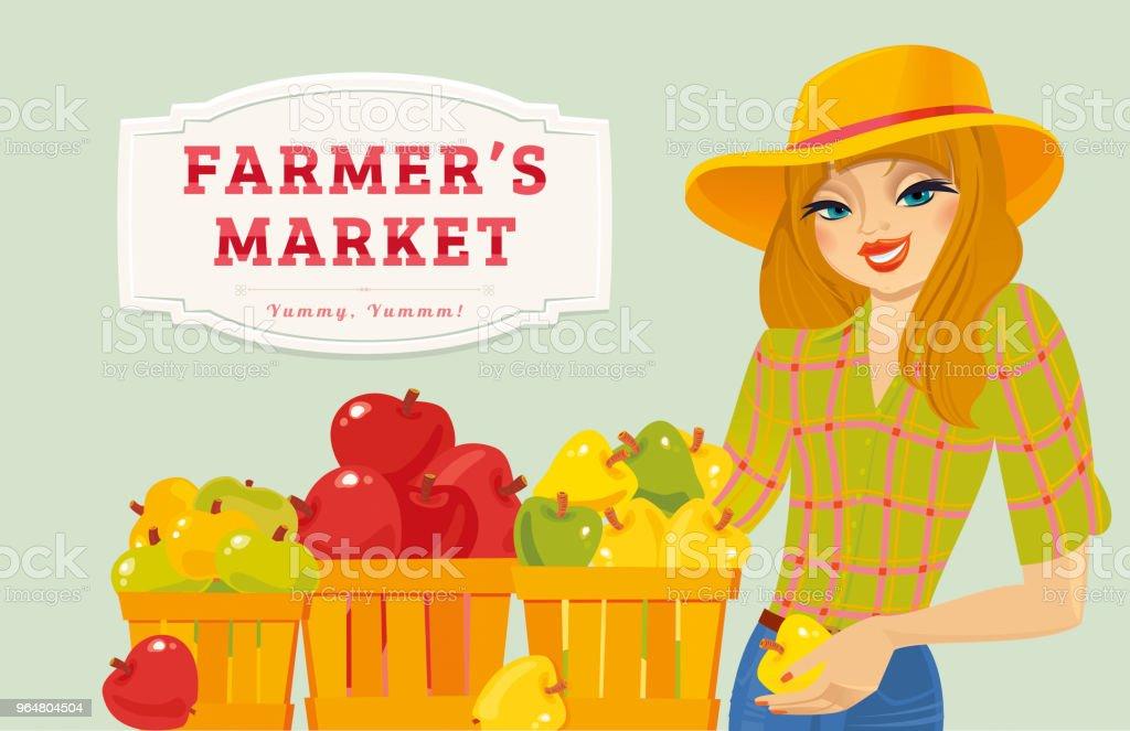 Farmer Girl selling organic fresh apples royalty-free farmer girl selling organic fresh apples stock vector art & more images of adult