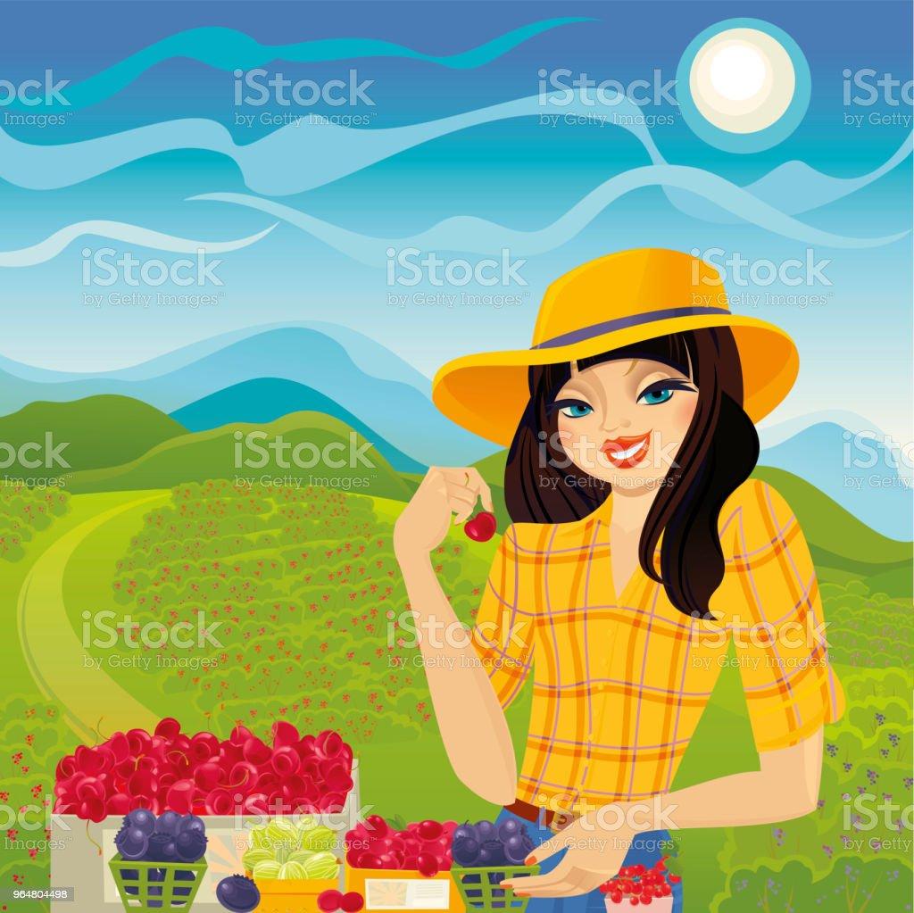 Farmer Girl selling organic fresh berries royalty-free farmer girl selling organic fresh berries stock vector art & more images of adult