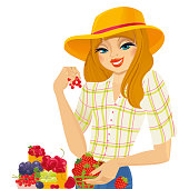 Farmer Girl selling organic fresh berries on white background. Vector.