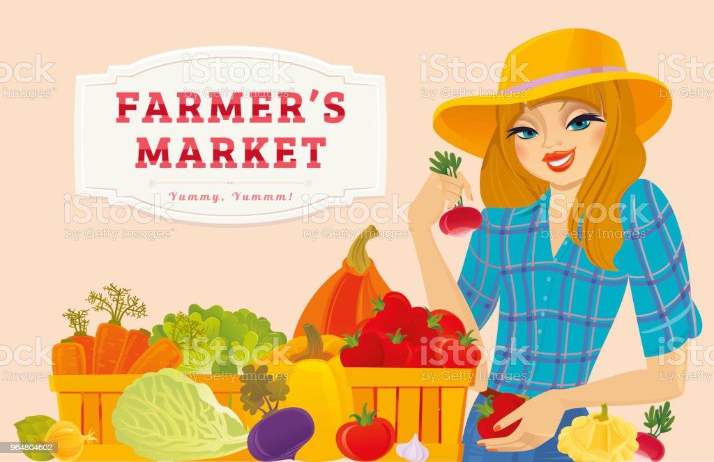 Farmer Girl selling organic fresh vegetables royalty-free farmer girl selling organic fresh vegetables stock vector art & more images of adult