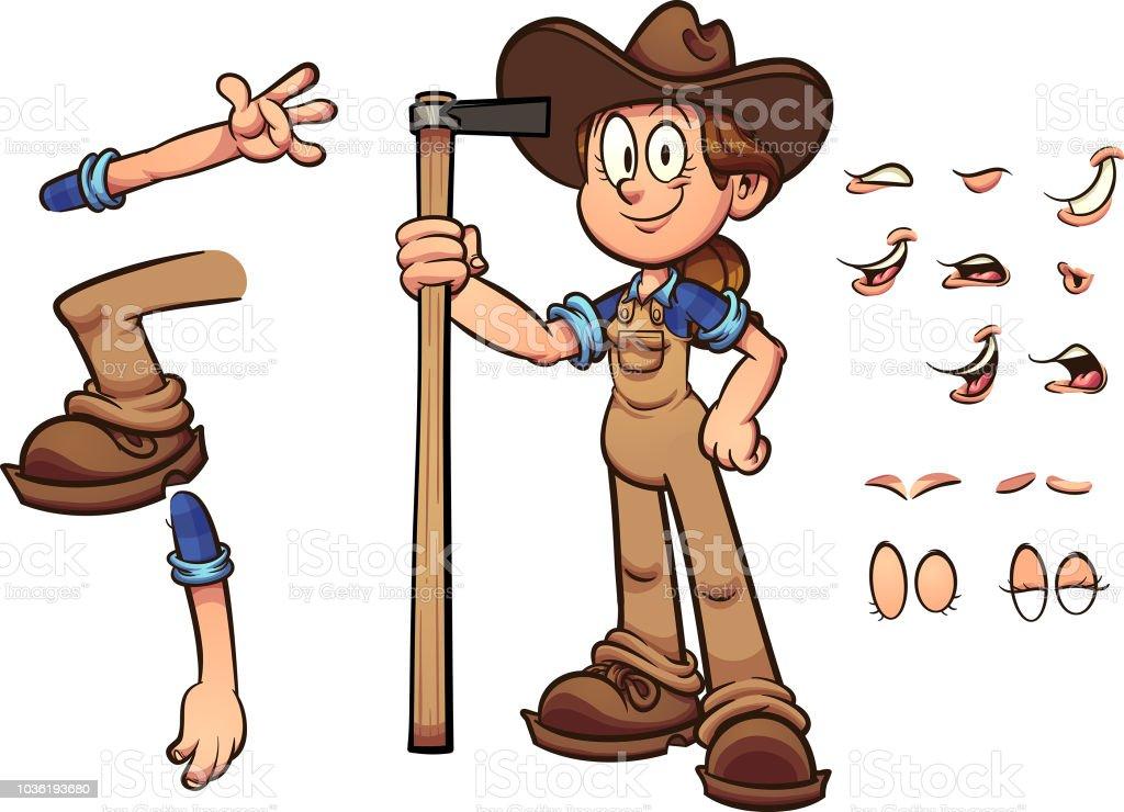 Farmer Girl vector art illustration