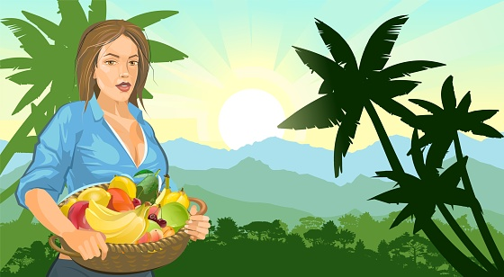 Farmer girl with a basket of fruits: apple, orange, cherry, banana, avocado. Mountains. Against the background of a landscape with with palm trees. Countryside. Flat illustration. Vector