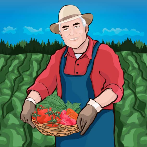 farmer in field, vector illustration - old man hat stock illustrations, clip art, cartoons, & icons