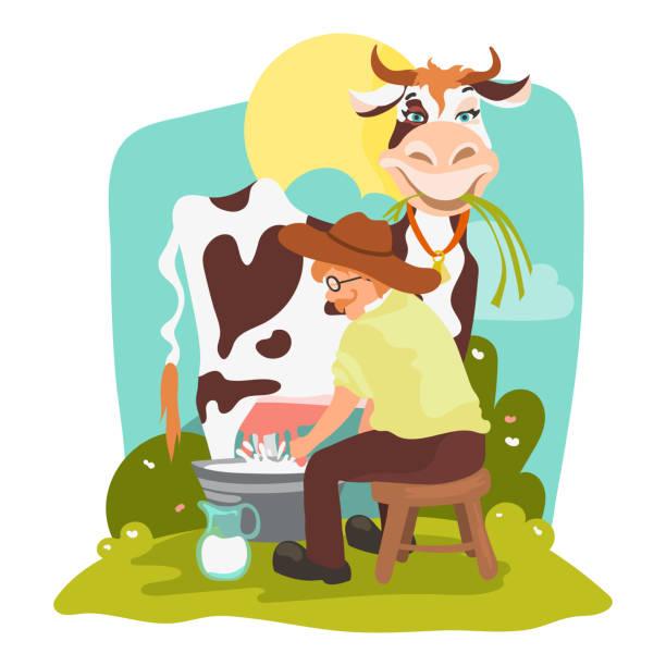 Farmer In The Hat Milking Funny Cow Vector Art Illustration