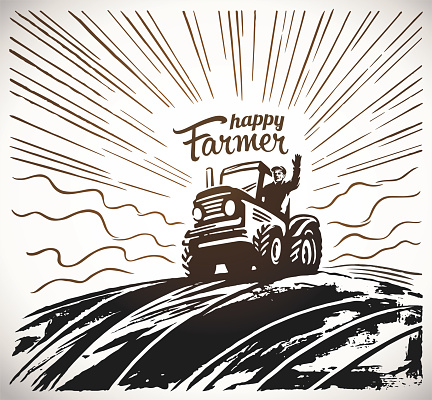 Farmer in the tractor waving his hands