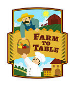 Farmer is giving to the chef a basket of fresh fruits and vegetables - vector emblem Farm to Table with replaceable text part