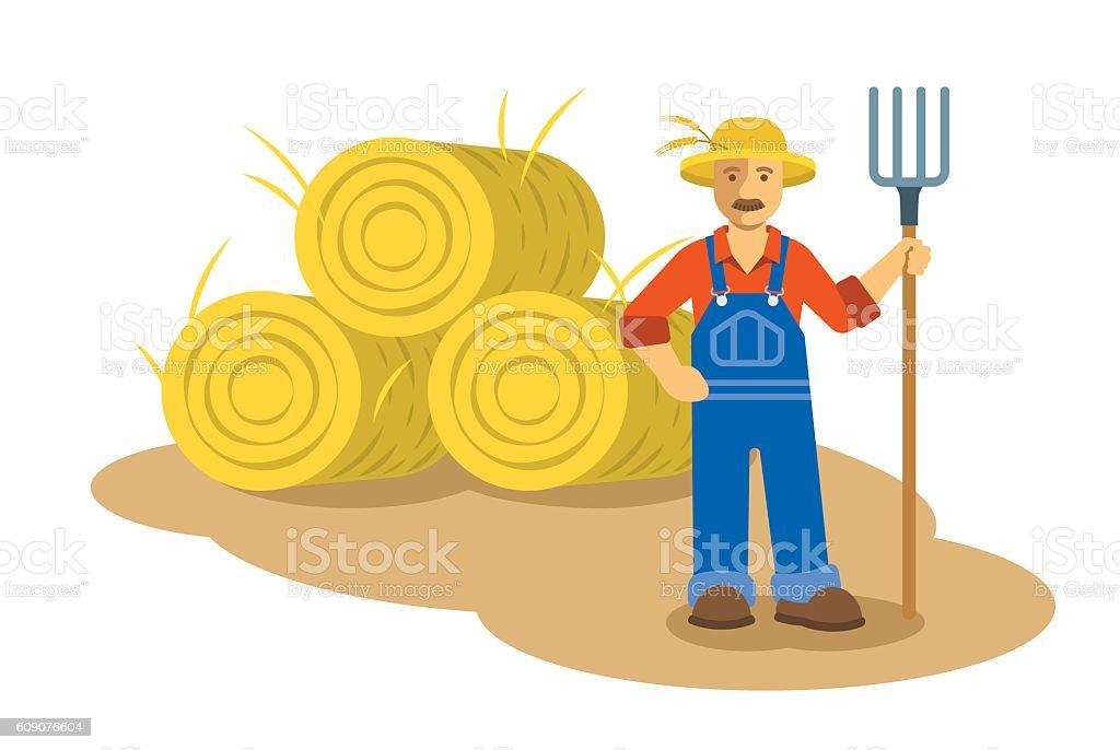 Farmer man standing with pitchfork flat illustration vector art illustration