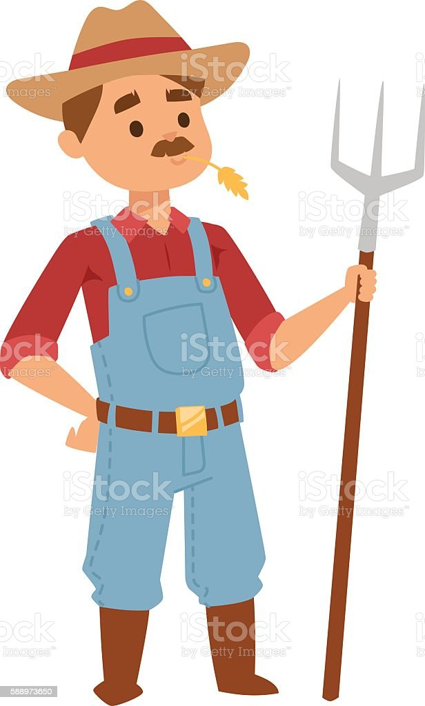 Farmer man vector illustration. vector art illustration