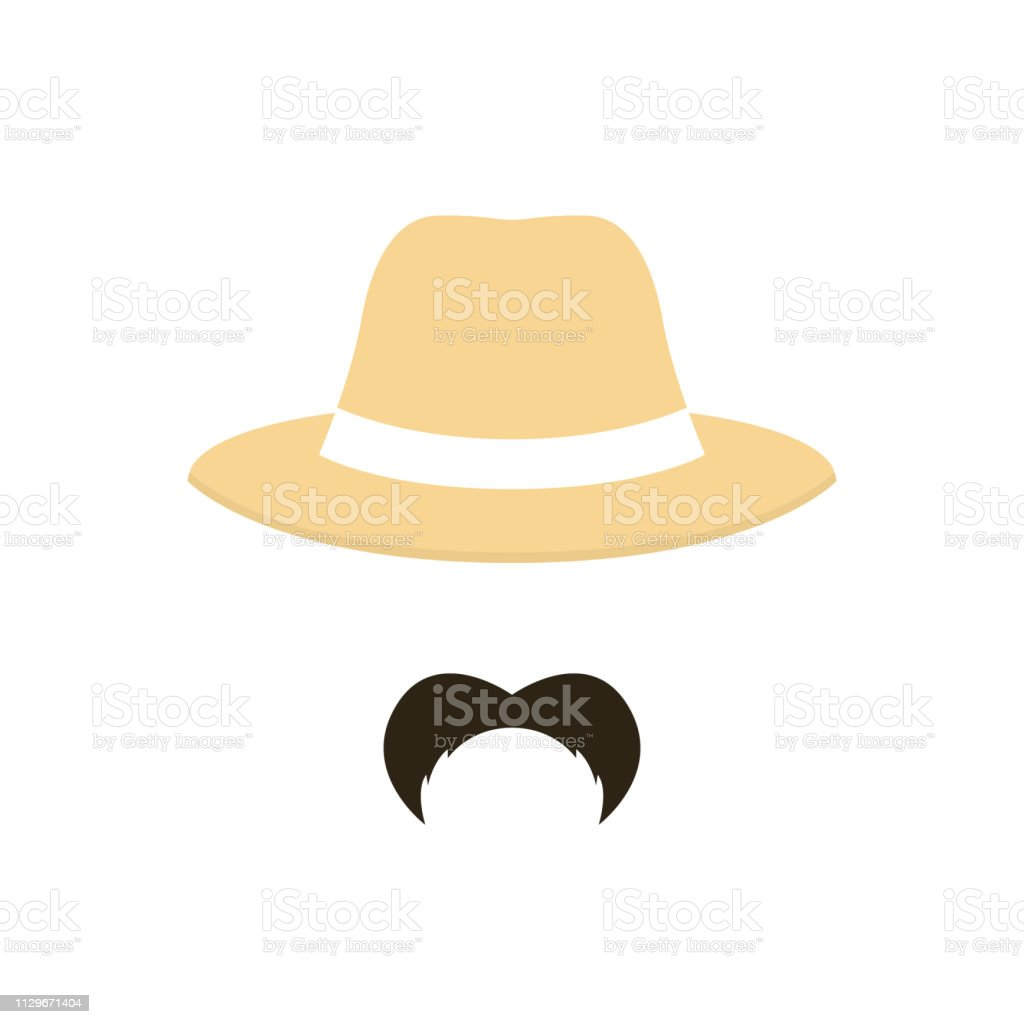 Farmer man with mustache wearing a hat. People profession icon....