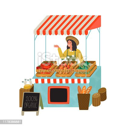Farmers market stall with happy farmer woman worker selling organic vegetables and food. Modern flat cartoon illustration on isolated background.