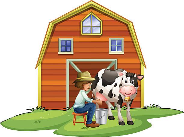 Farmer Milking Cow Vector Art Illustration