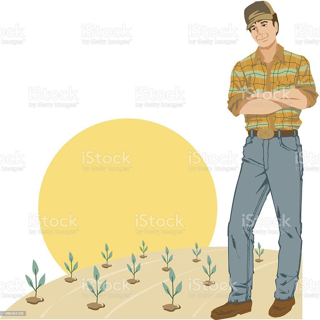 Farmer New Crops C vector art illustration