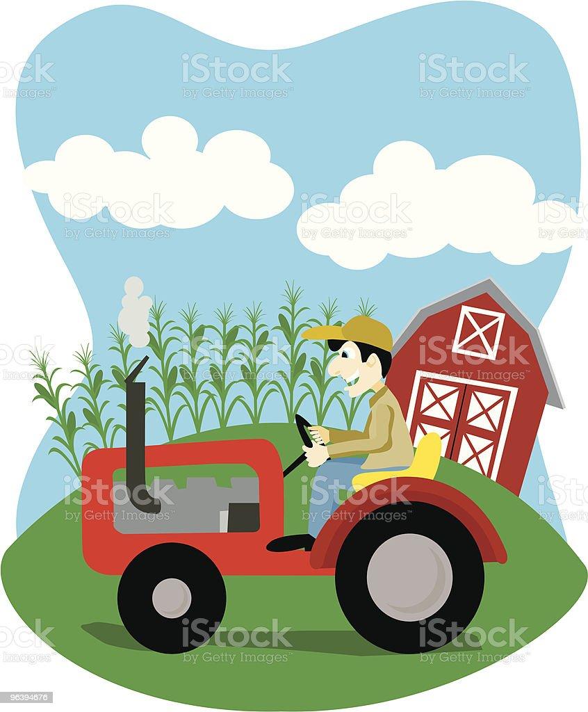 農家でトラクター - のりものに乗るのロイヤリティフリーベクトルアート