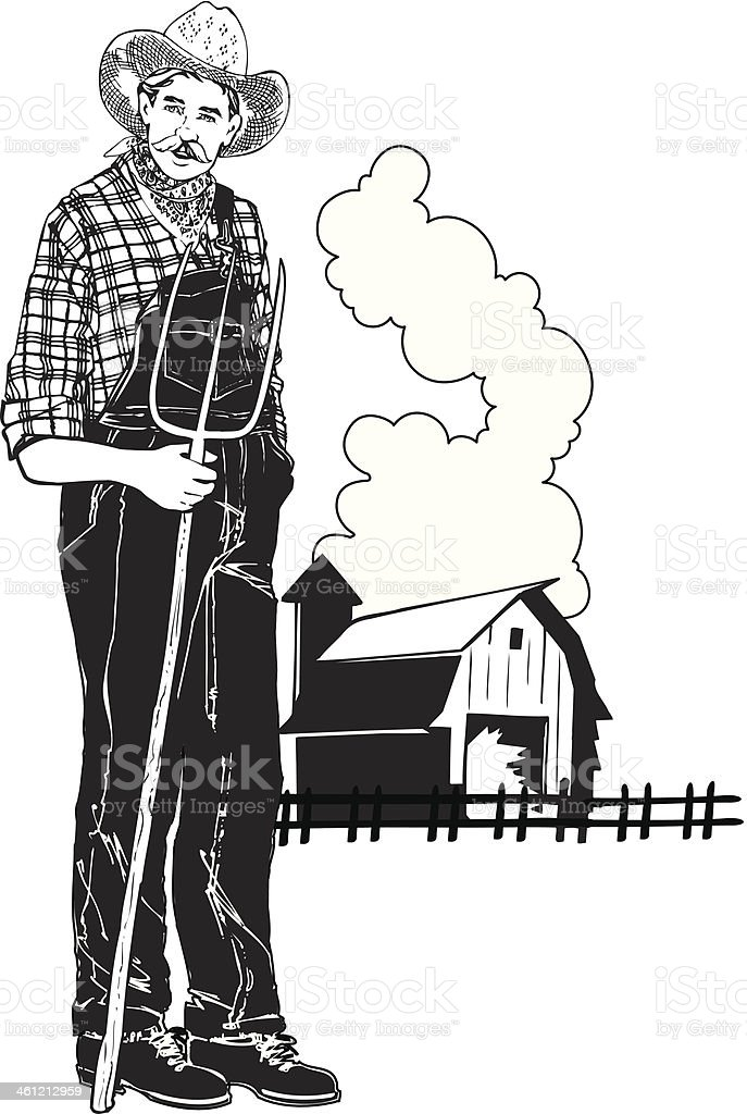 Farmer Pitchfork vector art illustration