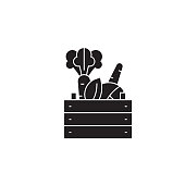 Farmer products black vector concept icon. Farmer products flat illustration, sign, symbol