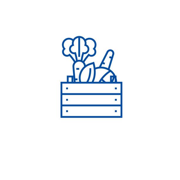 농부 제품 라인 아이콘 개념입니다. 농부 제품 평면 벡터 기호, 기호, 개요 그림. - 바구니 stock illustrations