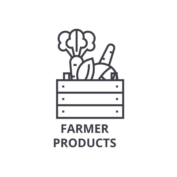 farmer products line icon, outline sign, linear symbol, vector, flat illustration - kosz stock illustrations