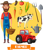 Farmer profession and farm agriculture vector poster