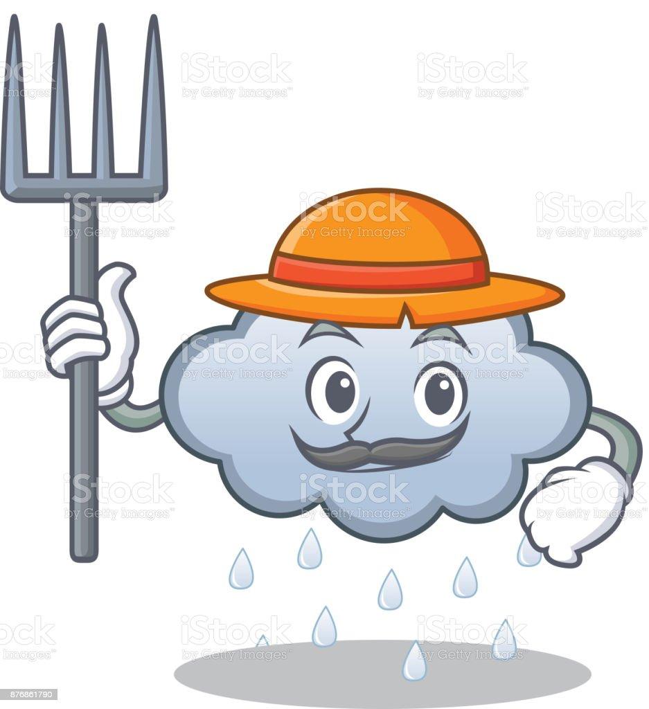 Dibujos animados de carácter de los nube de lluvia del granjero - ilustración de arte vectorial