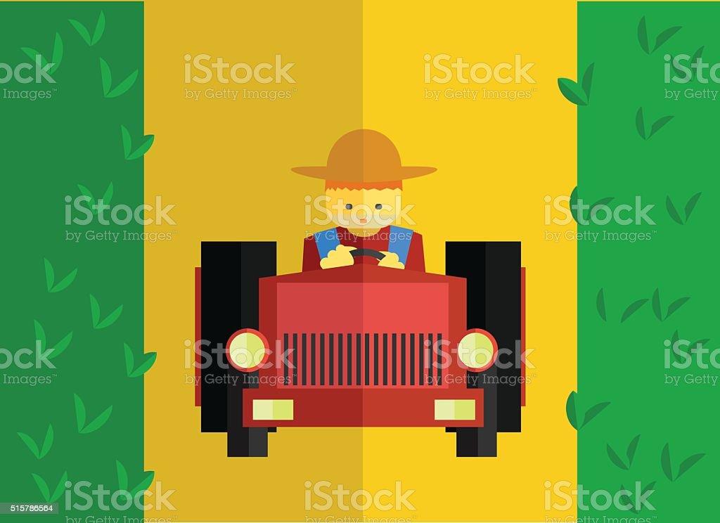 Paseos tractor en el campo de granja - ilustración de arte vectorial