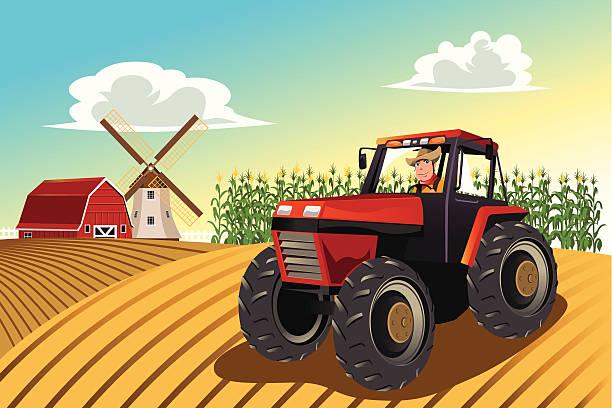 landwirt auf einem traktor - fahrzeug fahren stock-grafiken, -clipart, -cartoons und -symbole