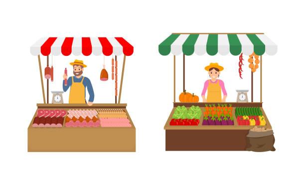stockillustraties, clipart, cartoons en iconen met boer verkopers op markt set vector illustratie - chicken bird in box