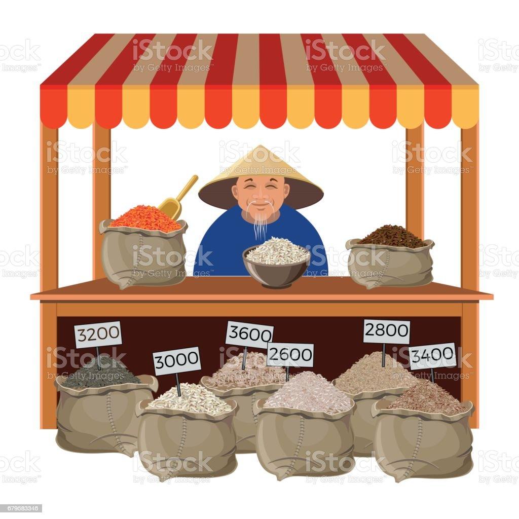 Venda arroz de fazendeiro - ilustração de arte em vetor