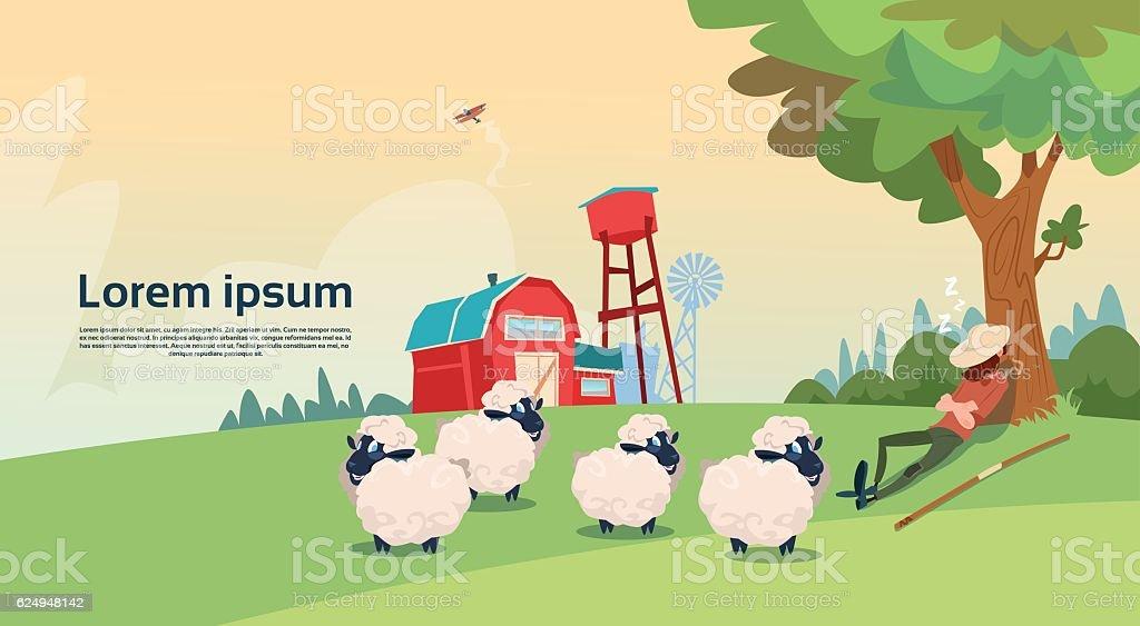 Farmer Shepherd Breeding Sheep Wool Farm - Illustration vectorielle