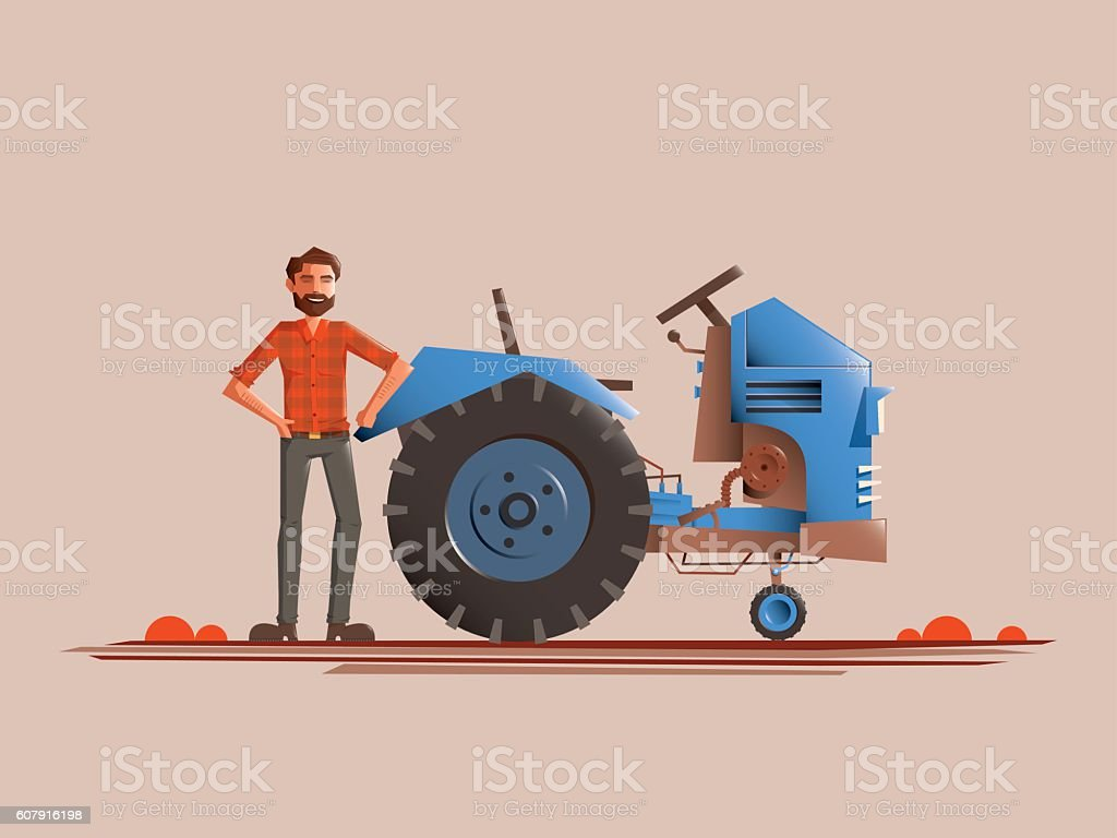 Farmer standing beside the tracks, he's smiling and happy vector art illustration