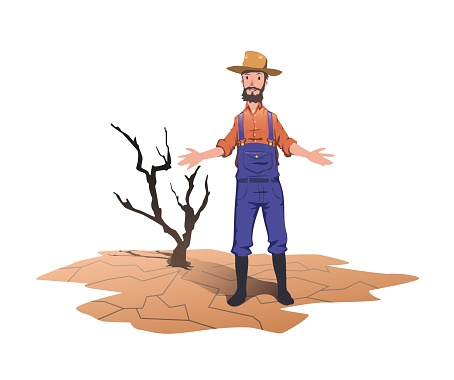 A farmer standing next to a dried dead tree. Concept on the theme of drought, global warming, lack of water for irrigation. Vector illustration isolated on white background.
