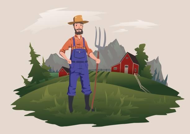 Paysan debout avec une fourche sur la ferme. Paysage rural de montagne en arrière-plan. Caractère Ranchman, illustration vectorielle. - Illustration vectorielle