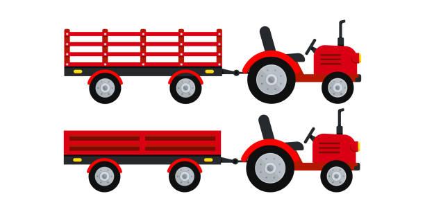 bildbanksillustrationer, clip art samt tecknat material och ikoner med bondtraktor med släpvagnsikon isolerad på vit bakgrund. - traktor pulling