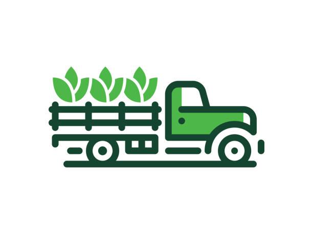 illustrazioni stock, clip art, cartoni animati e icone di tendenza di farmer truck - organic food